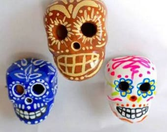 Handmade Sugar Skull Fridge Magnets Colored Clay Mexican Design - Set of 3