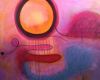 Colorful Abstract Painting on Canvas: How High the Moon by NYC Artist, Maggie Hernandez