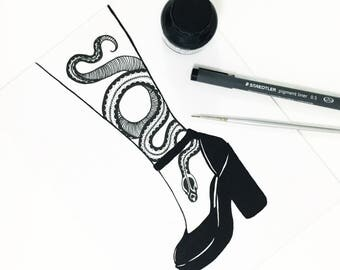 Original Artwork - Snake in High Heel - Illustration