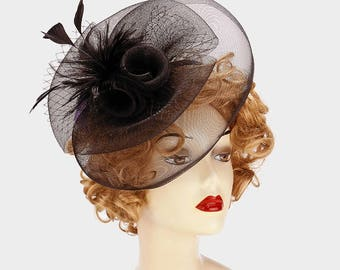 Feather and Curly Bow Birdcage Veil Fascinator