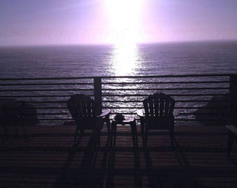 Tranquil Deck By The Ocean