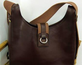 HERMES Tsako vintage Brown cross body leather bag in cotton