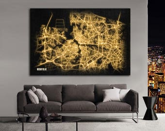 NORFOLK Virginia Night Lights Map Large Horizontal Wall Art Map Norfolk Virginia Modern Art Neon City Street Map of Norfolk NLM