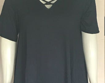 ZTO60 Tunic Plus Size Black Short Sleeve Size 1x 2x 3x