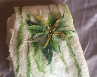 Felted Scarf with Beading. Brand New, Handmade