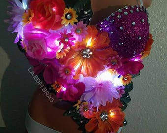 assorted pink and orange led light up flowers rave bra top with pink glitter cup