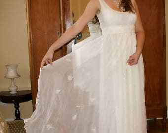 Felted on Japanesse natural milky white color silk wedding dress with Swarovski crystals for pregnant woman
