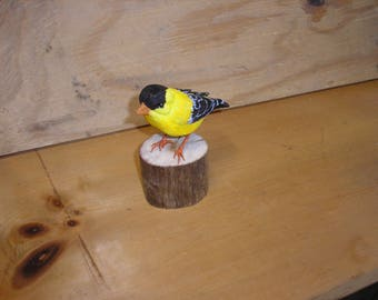 Wood Carving of an American Goldfinch