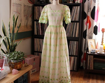 60s 70s sheer vintage maxi dress, xs small . quirky boho folk art dress with pom poms and puffy bell sleeves, green embroidered flowers
