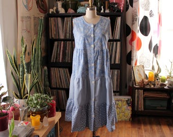 ruffled chambray babydoll sundress with roses and stripes . oversized festival dress, womens small medium midi dress