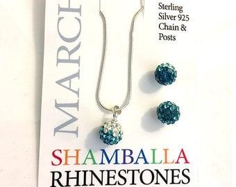 March & December Birthstone 925 Sterling Silver Aqua Blue Shamballa Rhinestone Necklace and Earrings Set