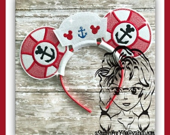 LiFE SaVER Sailor Inspired (3 Piece) Mr Miss Mouse Ears Headband ~ In the Hoop ~ Downloadable DiGiTaL Machine Emb Design by Carrie