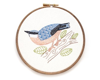 Original Embroidery Hoop Art, Nuthatch Bird Embroidery