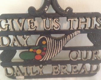 Give Us This Day Our Daily Bread Aluminum Trivet Vintage 1960s Country Cottage Kitchen Home Decor