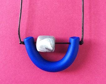 Abacus Necklace in Cobalt and Marbled Grey Handmade Polymer Clay Bead Necklace Horseshoe Pendant