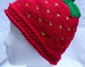 RESERVED for snowflake2654 Strawberry Handknit Hat, (Child), Fruit Hat, Costume Hat, Strawberry Costume Hat, Fun Fall Hat, Made to Order