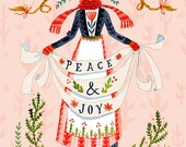 Peace & Joy Holiday Card Set - 7 Cards + Envelopes