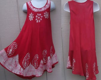 Vintage 90s Pink Tie Dye Girl's Embroidered Dress / Boho Hippie Festival Jumper // Size 4 - 6 Girls