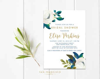Bridal Shower Invitation, Printable Bridal Shower Invite,  Floral, Blue, Green, Spring | DIANA collection | PDF Digital File