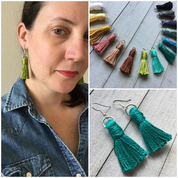 "Modern Tassel Earrings - 2"" Cotton Tassel Choose from 14 Colors - Simple Minimal Lightweight Dangle Earrings - Boho Earrings Gift for Her"