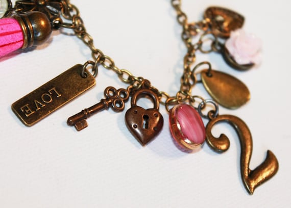 Pink and Gold Charm Bracelet - Heart Locket Key 2 Charms - OOAK