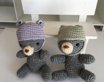 set of 2 Amigurumi, Crocheted Bear, with canvas basket with hedgehog applique