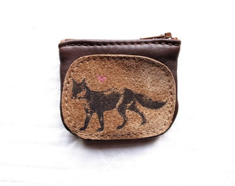 Fox Coin Purse Leather Recycled