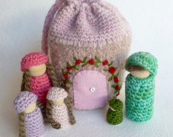 Cozy cottage on the go wood peg dolls felted pouch doll house family ready to ship