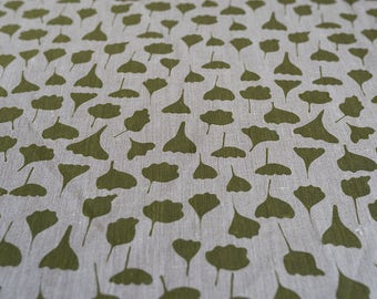Fabric panel - Flowers and Leaves in olive green flax linen. Textiles designed and screen printed in Melbourne.