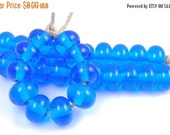 Boxing Week Sale 036 Transparent Dark Aqua Spacers - Handmade Artisan Lampwork Glass Beads 5mmx9mm - SRA (Set of 10 Spacer Beads)