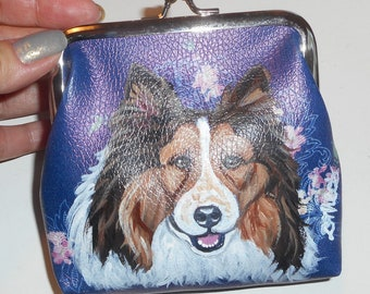 Shetland Sheepdog Sheltie Dog Hand Painted Leather Coin Purse Mini wallet vegan