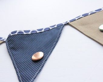 Button Bunting in Sage Green & Navy Blue / display your enamel pin collection / enamel pin display