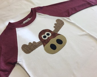 Boys Moose Applique Baseball Tee - Maroon Boys Baseball Long Sleeve Tee