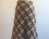 1960s 1970s Vintage Wool Skirt | Plaid Brown A-Line Skirt