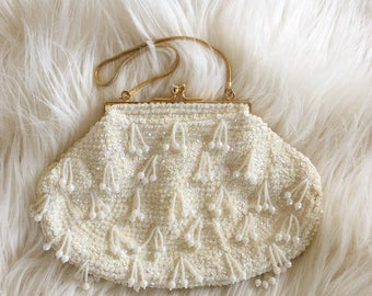 1950s Ivory Sequin Beaded Bridal Evening Bag by Voguemont