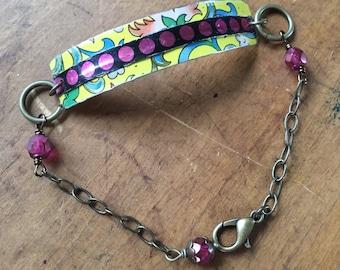 Floral garden and polkadot vintage tin bracelet