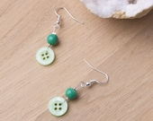Green button earrings with green beads | Button jewellery | Sewing gift buttons |  Cute quirky earrings | Button dangle earrings