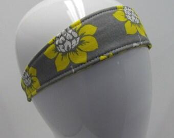 Headband for girls - Headband for Women - Reversible Headband - Cotton Headband - Yoga - Athletic Headband -Yellow - Gray