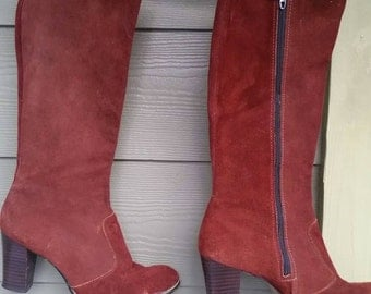 70s Rust Suede Boots Size 8