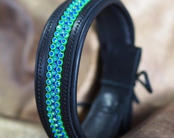 Leather Show Brow Band with Bling Colors for Seattle fans