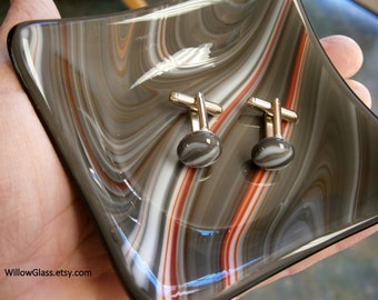 Fused Glass Cuff Links and Dresser Dish  in Gray and Red by Willow Glass,  Home Decor, Mens Gift