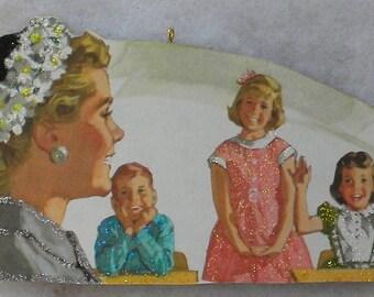 Teacher Shows Kids Her Easter Bonnet/Spring Hat Glittered Wood Christmas Ornament Vintage Book Image