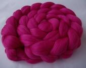 PINK, merino wool roving, spinning fiber, felting wool, super soft, 20 micron, unspun merino wool, pink wool, dreads, dolls hair,3.5oz