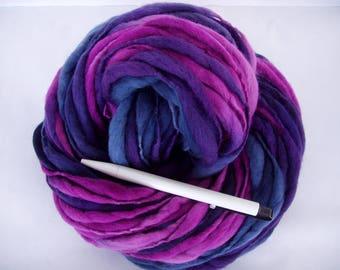 Handspun merino yarn, thick and thin yarn, hand painted yarn, super bulky yarn, dolls hair, dreads, giant yarn,THRU THICK N THIN,70yds,3.5oz