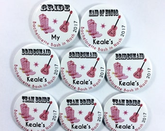 SET of 5 Pin back ButtonsCowgirl bachelorette party name tags Nashville bachelorette party country themed wedding name tags