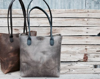 Long Handle Leather Tote Bag / Handmade Market Tote / READY TO SHIP /Rustic Leather Bag / Hand Stitched Leather Tote /feralempire.etsy.com