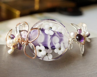 Purple Cuff Vine Leaf Lampwork Glass Amethyst Pearl Rock Crystal Quartz 14kt Pink Rose Goldfilled Sterling Silver Cuff Bracelet