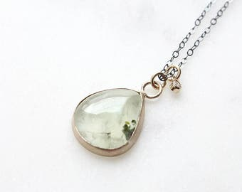 14k prehnite and diamond necklace, mixed metals necklace, eco friendly, green gemstone necklace