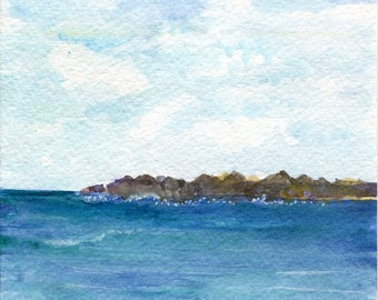 Aruba original watercolor painting,ocean art, seascape, 5 X 7
