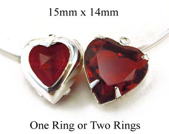 Ruby Red Vintage Glass Beads, Heart Pendant or Earrings, Silver or Brass Settings, Sheer, Set Stones, 15mm, Rhinestones, One Pair